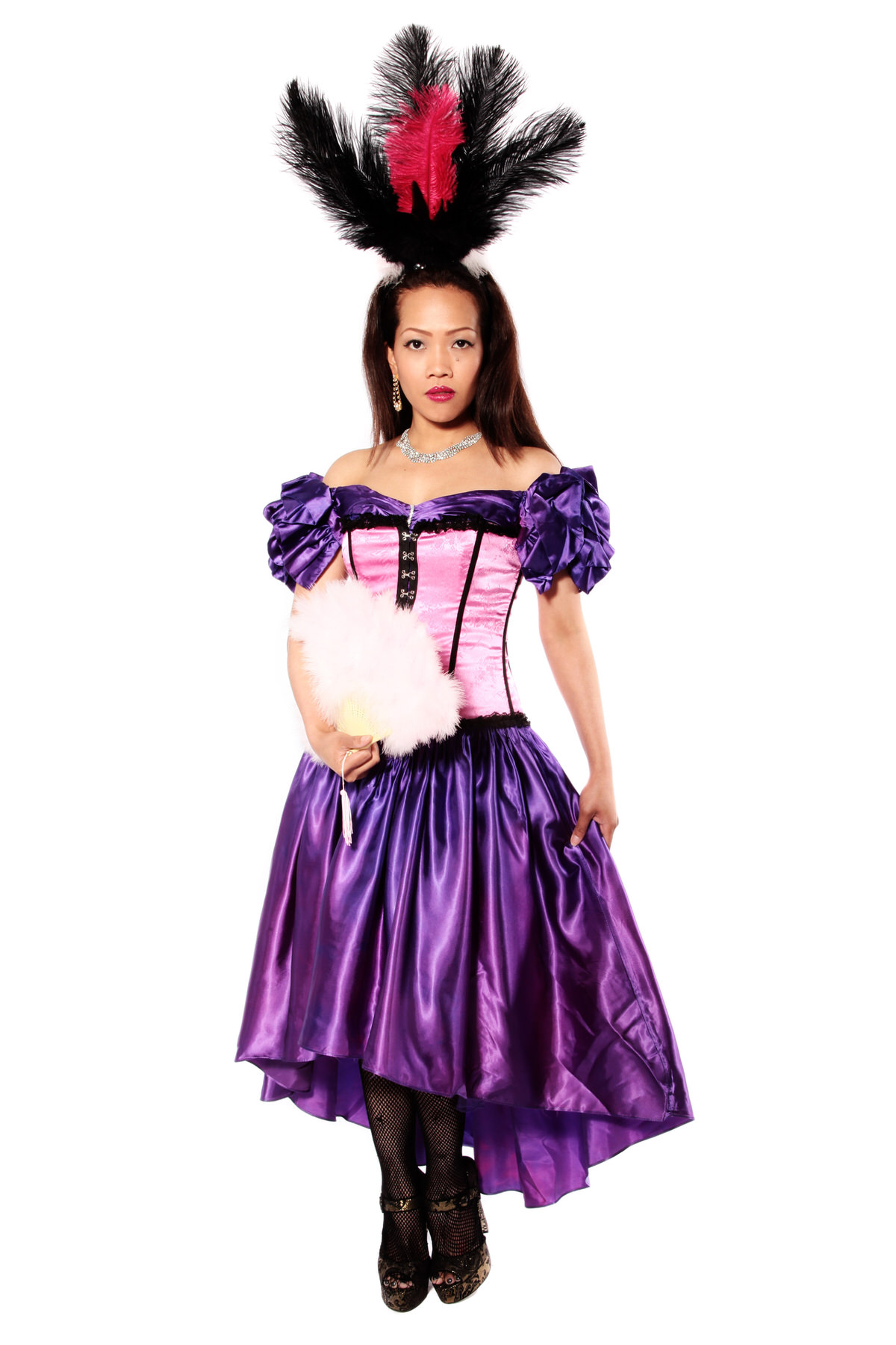 MOULIN ROUGE PURPLE SATIN DRESS WITH PINK CORSET