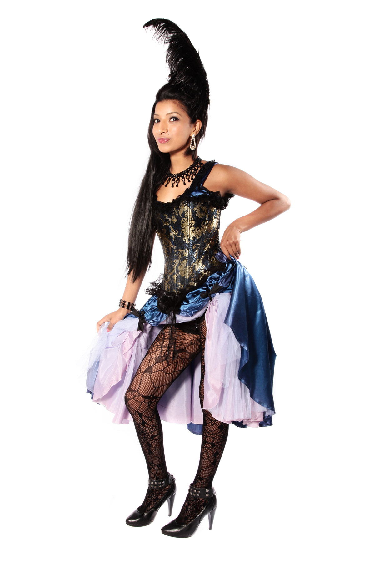 MOULIN ROUGE BLUE-GOLD SATIN DRESS W GOLD CORSET