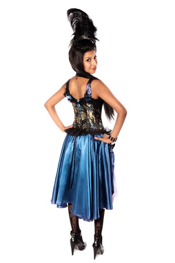 MOULIN ROUGE BLUE-GOLD SATIN DRESS Back view