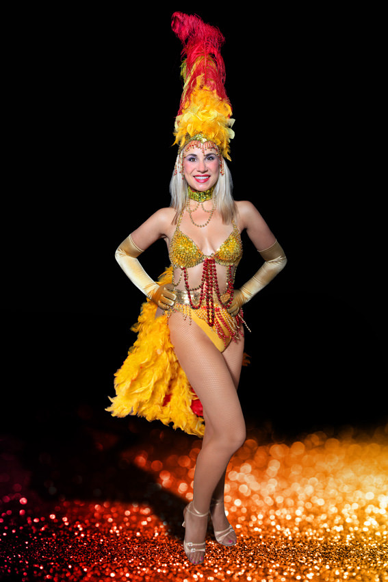 RED & YELLOW SHOW GIRL COSTUME W GOLD SEQUIN BRA