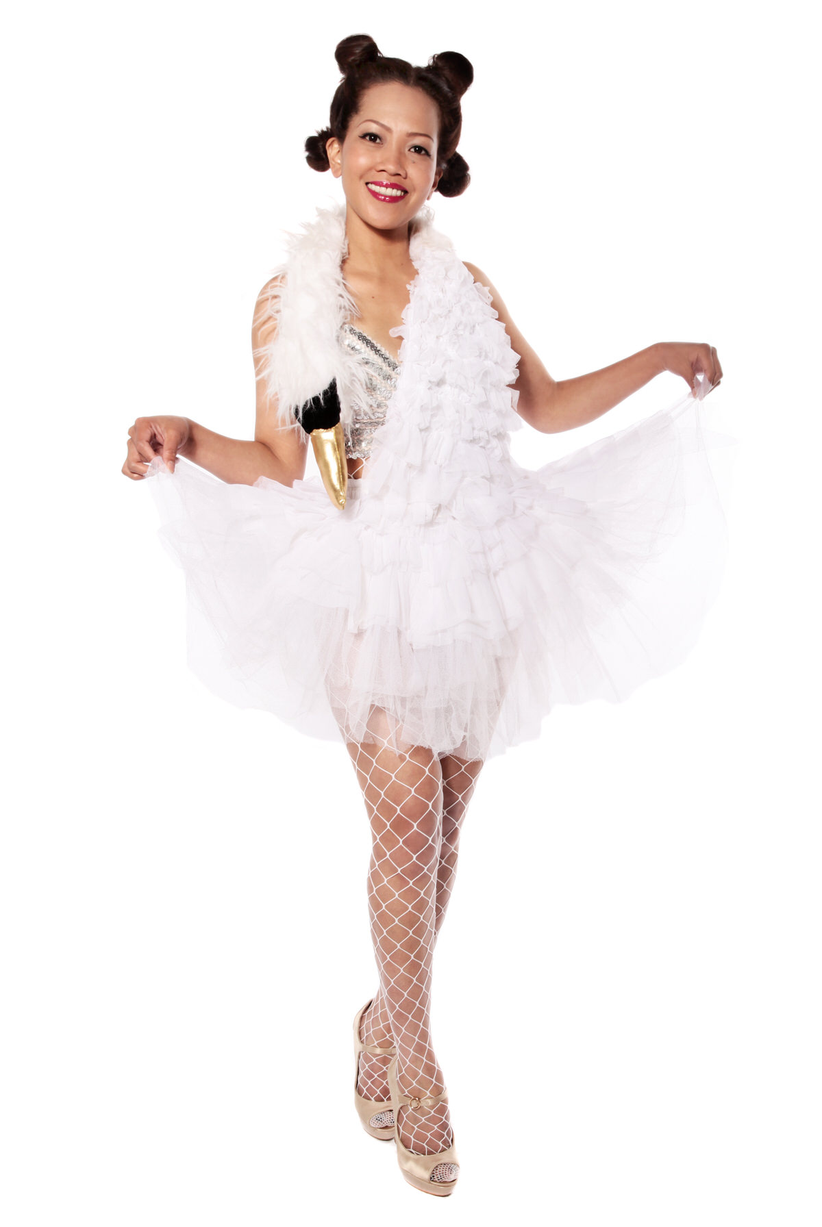 SWAN DRESS BJORK STYLE COSTUME W SILVER SEQUIN TOP