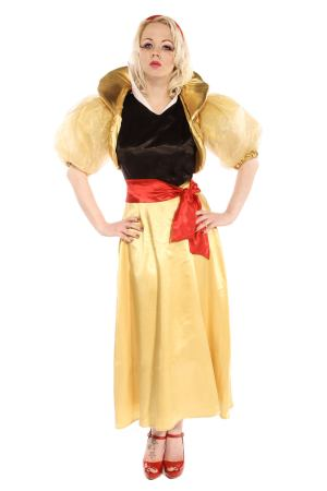 SNOW WHITE LONG DRESS COSTUME AND GOLD JACKET