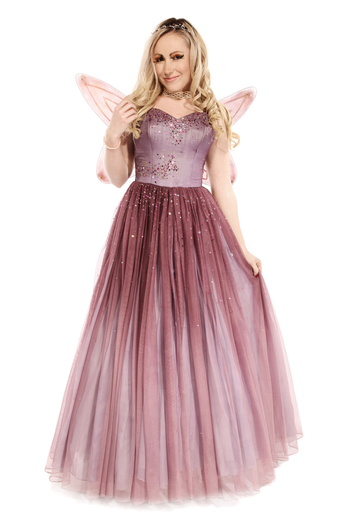 FAIRY PRINCESS COSTUME W WINGS & PEARL TIARA