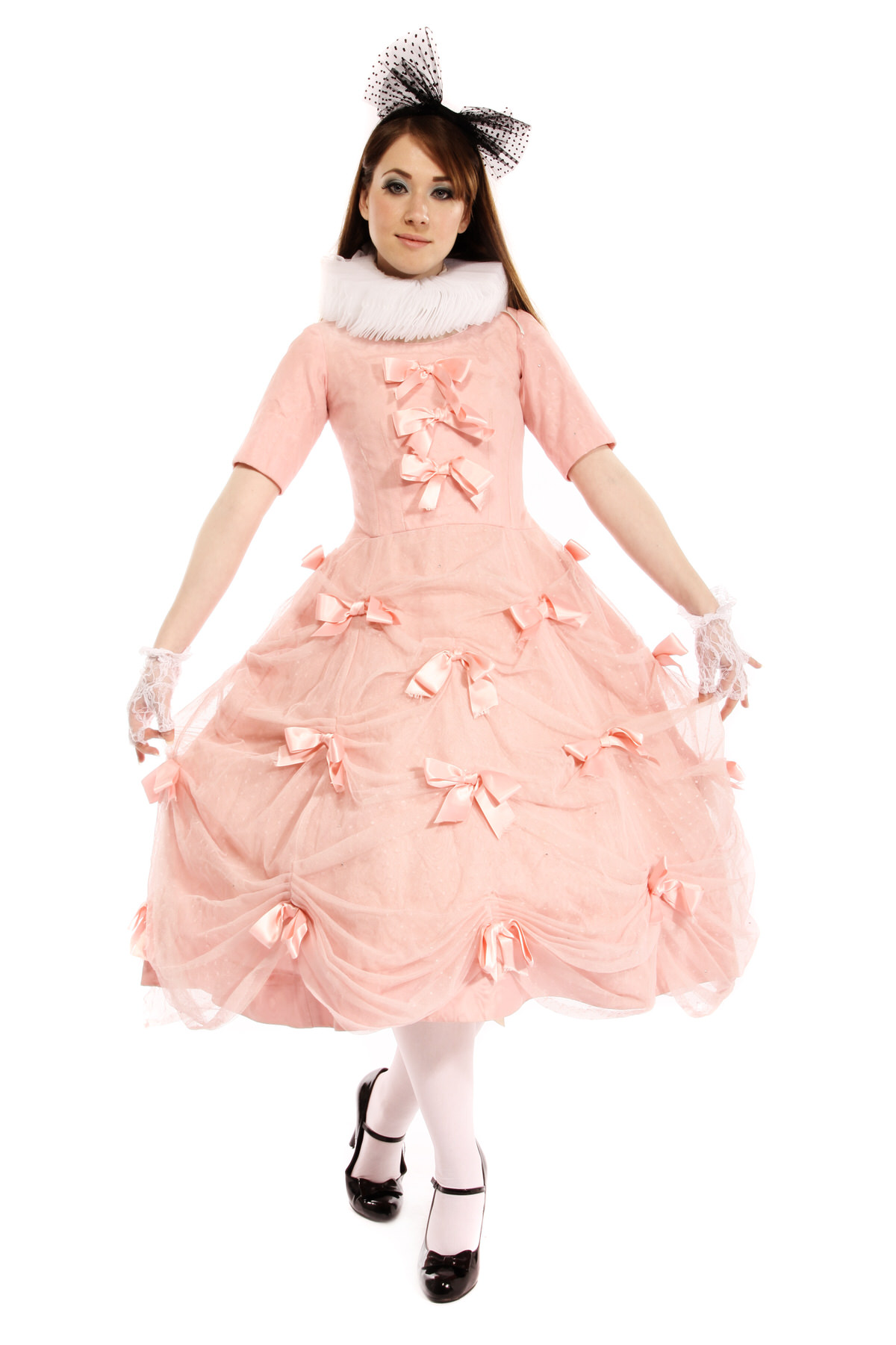 PINK ALICE COSTUME W WHITE NECK RUFF & BUNNY EARS