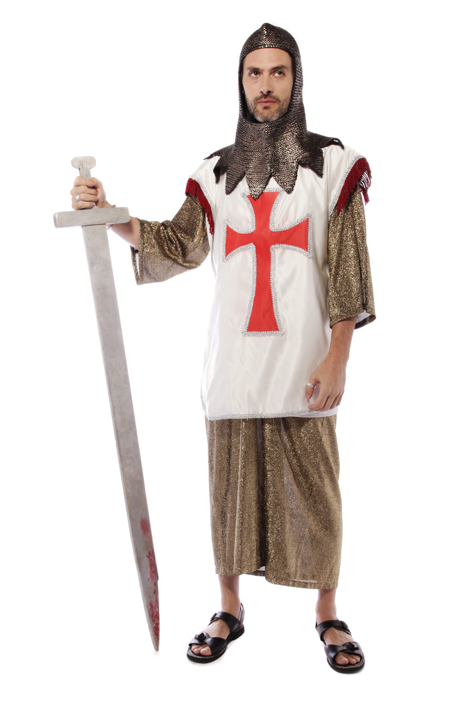 CRUSADER KNIGHT COSTUME W CHAINMAIL COIF