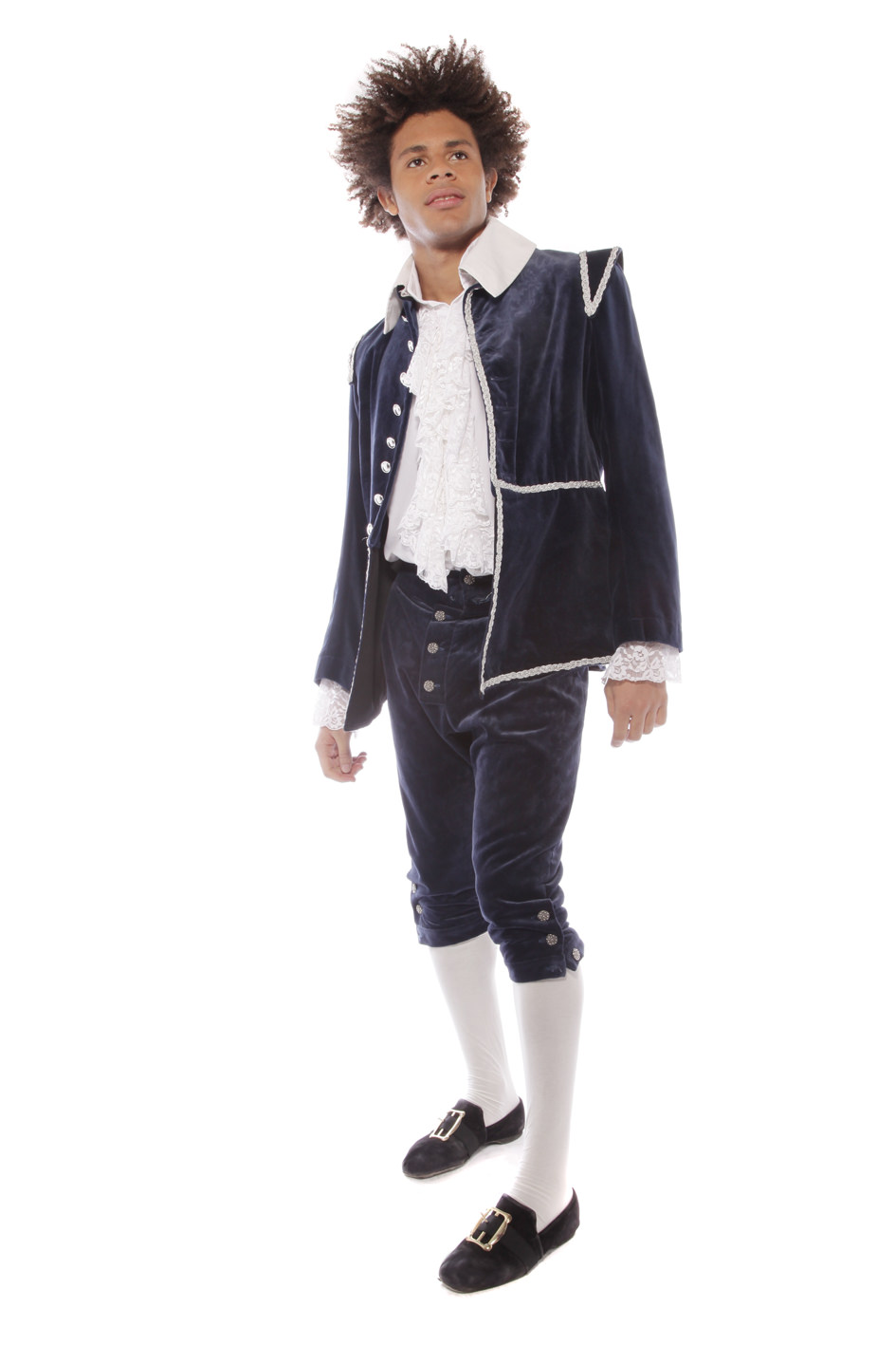 17TH CENTURY MAN'S INDIGO BLUE VELVET COSTUME