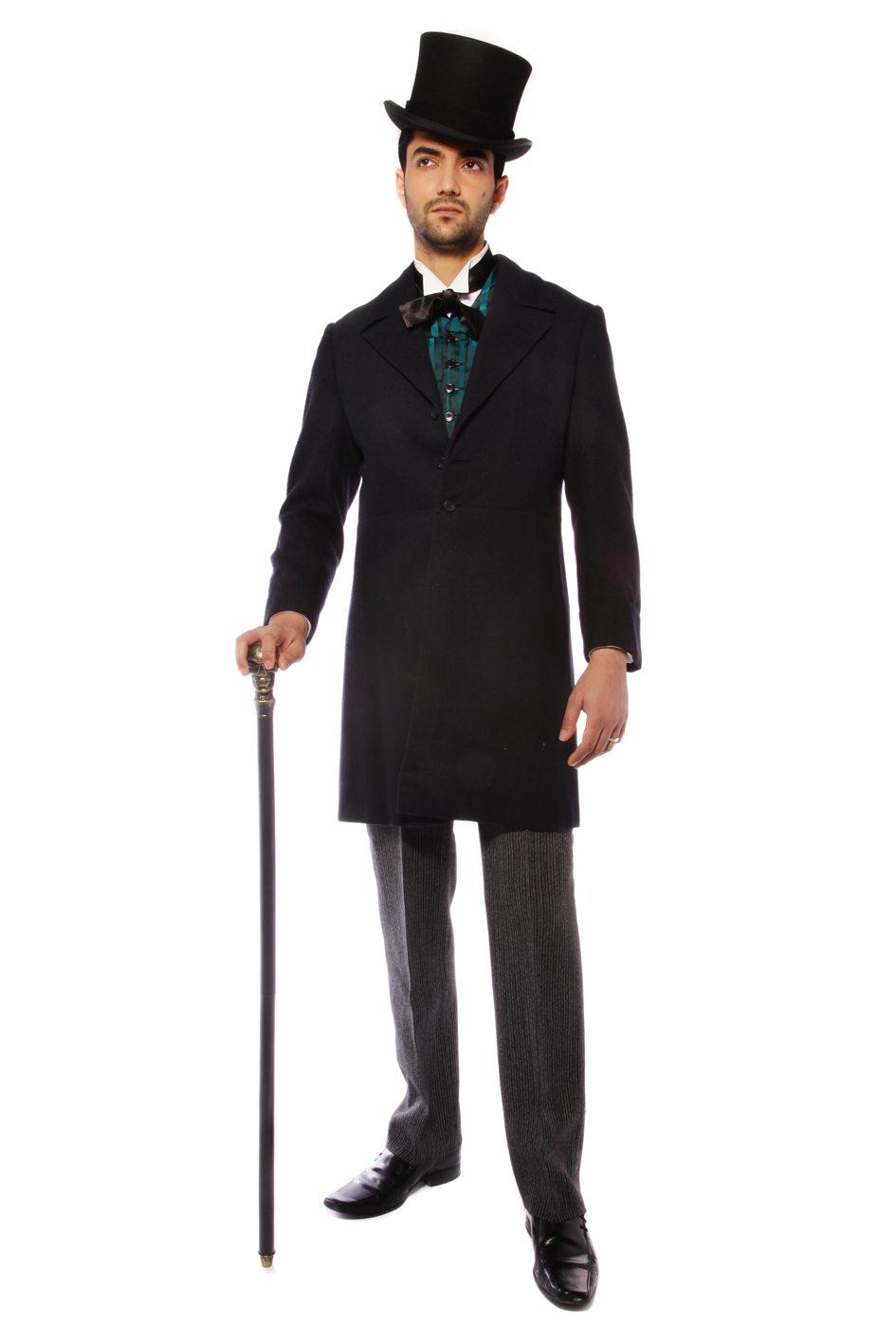 VICTORIAN GENT BLACK COSTUME W BLACK TOP HAT