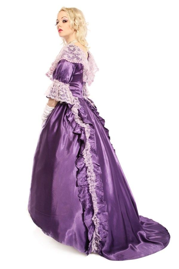 VICTORIAN SATIN GOWN PURPLE COSTUME back