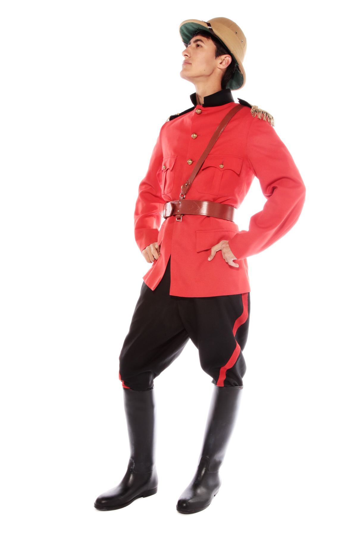 BOER WAR BRITISH SOLDIER COSTUME W HAT & RED JACKET