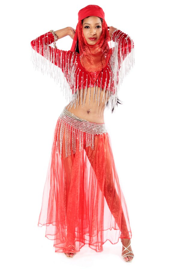 BELLY DANCING RED COSTUME ALT