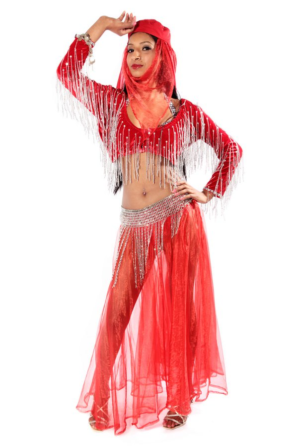 BELLY DANCING RED COSTUME W SILVER SEQUINNED BRA TOP