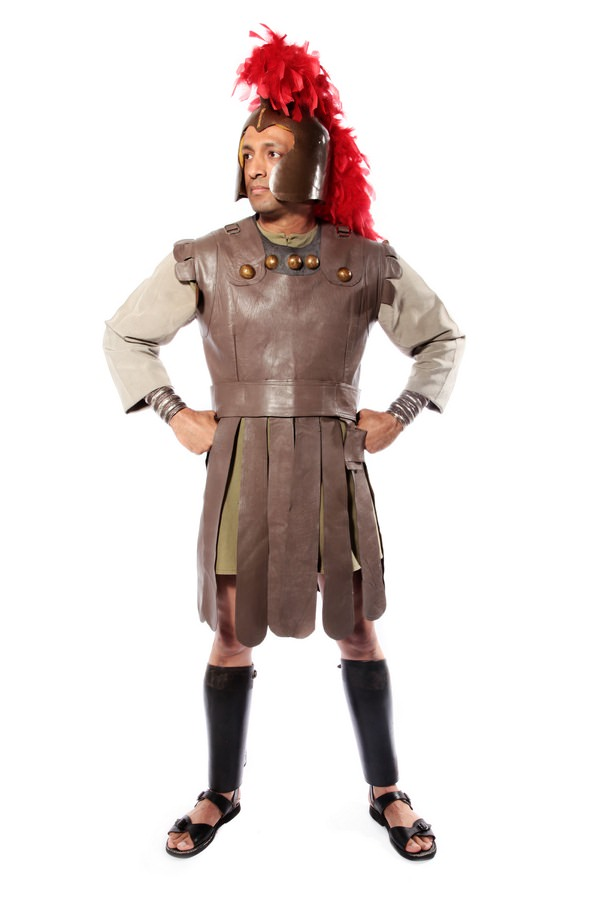 ROMAN CENTURION COSTUME W RED LEATHER TUNIC