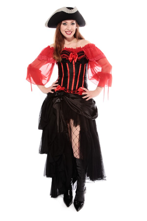 BURLESQUE PIRATE WOMAN'S COSTUME  W CORSET