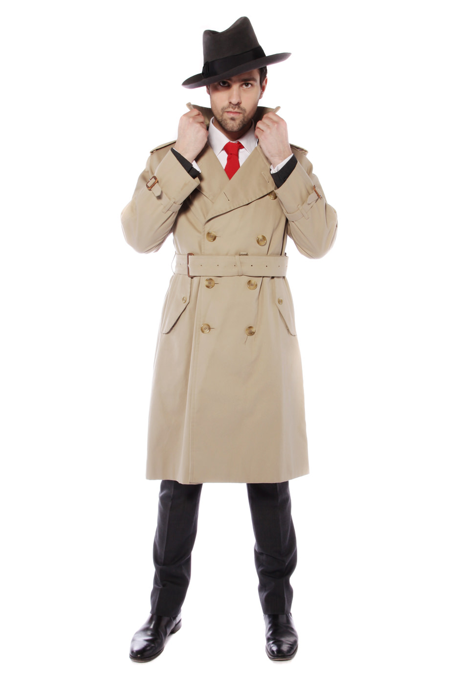 FILM NOIR SPY COSTUME W VINTAGE BURBERRY MAC