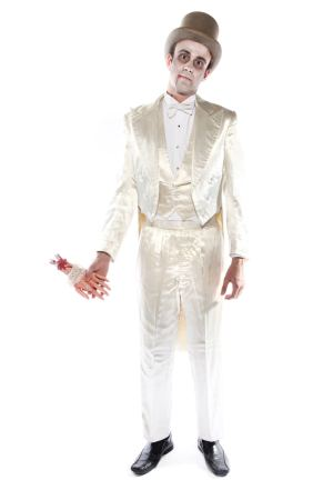 DEAD GROOM WHITE SATIN SUIT COSTUME
