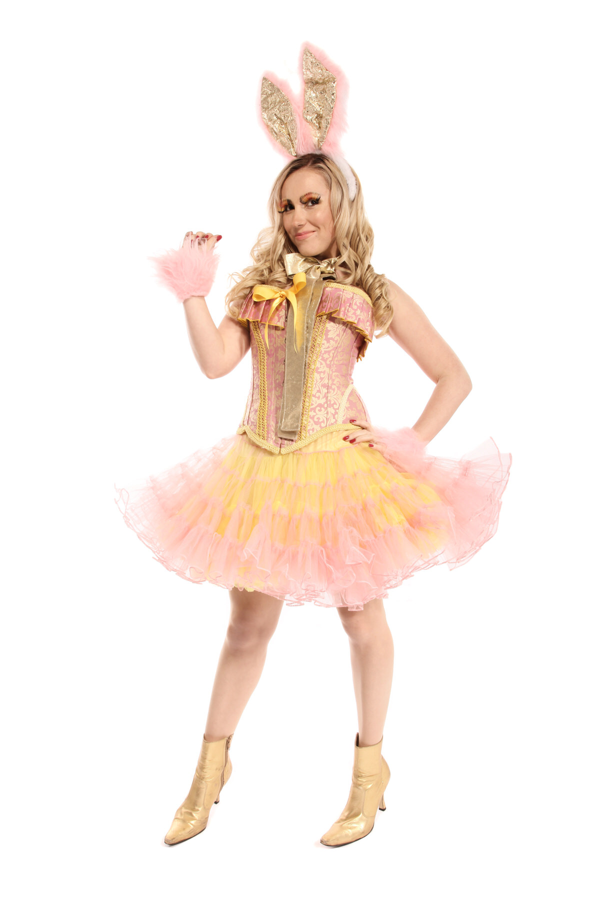 EASTER BUNNY GIRL PINK AND YELLOW COSTUME