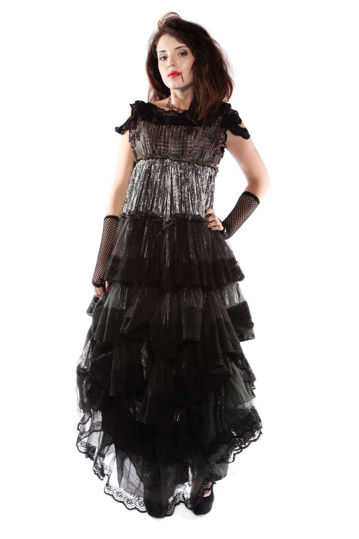 EVIL COUNTESS VINTAGE BLACK DRESS VAMPIRE COSTUME