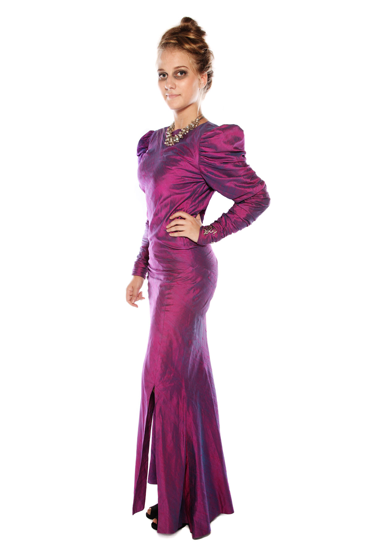 GOTHIC MISTRESS PURPLE SILK LONG DRESS