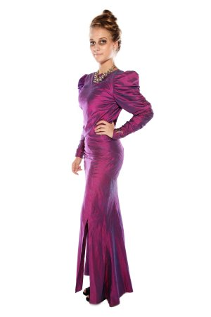 GOTHIC MISTRESS PURPLE SILK LONG DRESS front