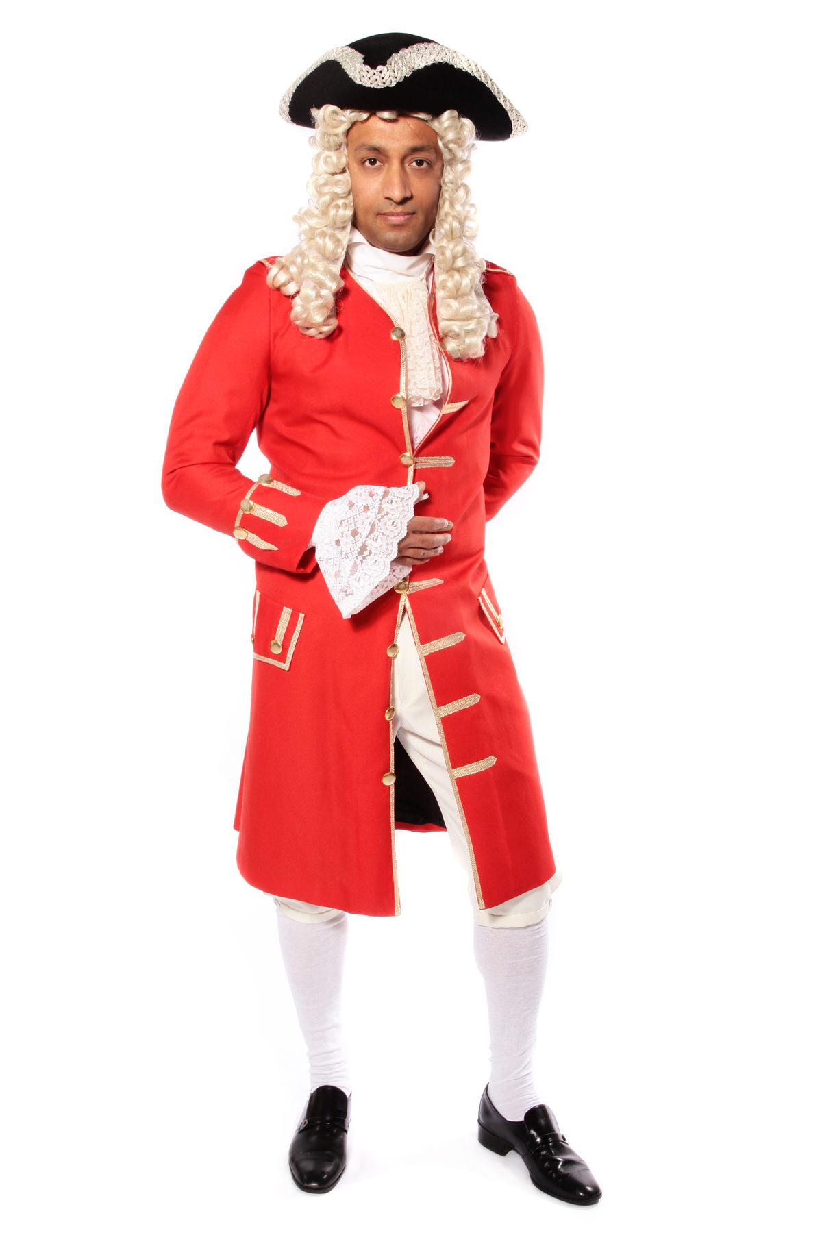 GEORGIAN GENT RED COSTUME W TRICORN HAT