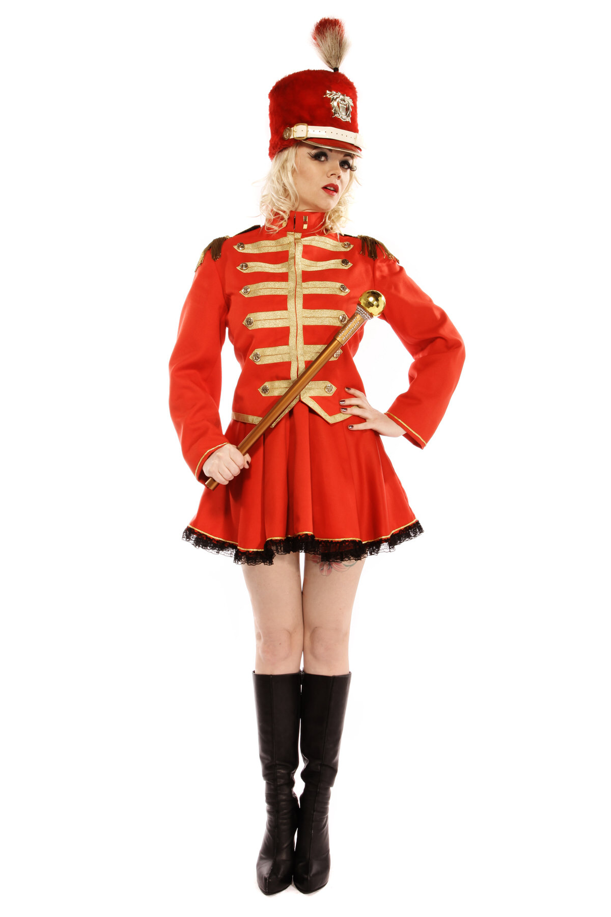 MAJORETTE RED AND GOLD COSTUME W GOLD BATON