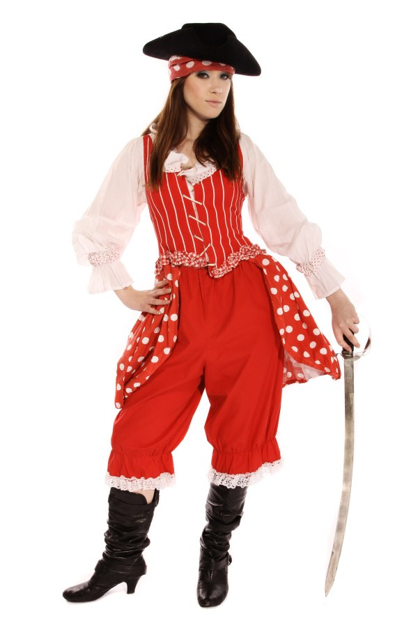 BUCCANEER GIRL RED POLKA DOT COSTUME alt