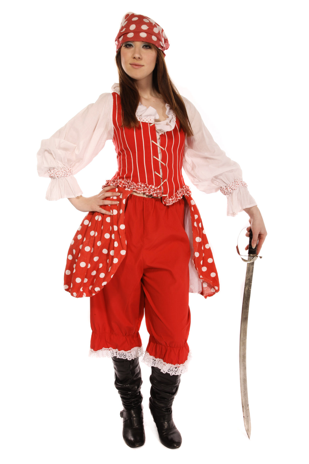 BUCCANEER GIRL RED POLKA DOT COSTUME