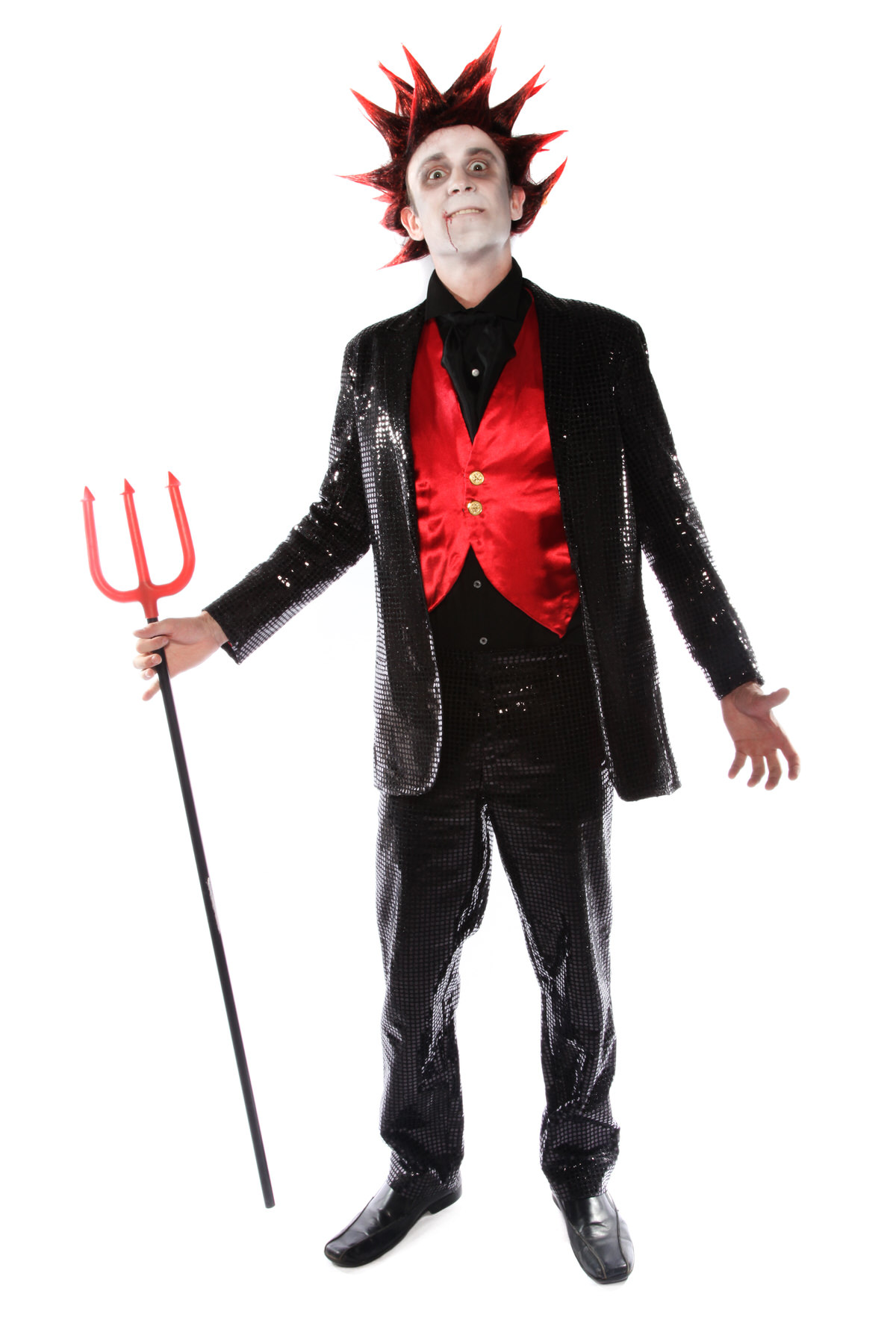 PUNKY SEQUINED DEVIL COSTUME W SPIKY WIG
