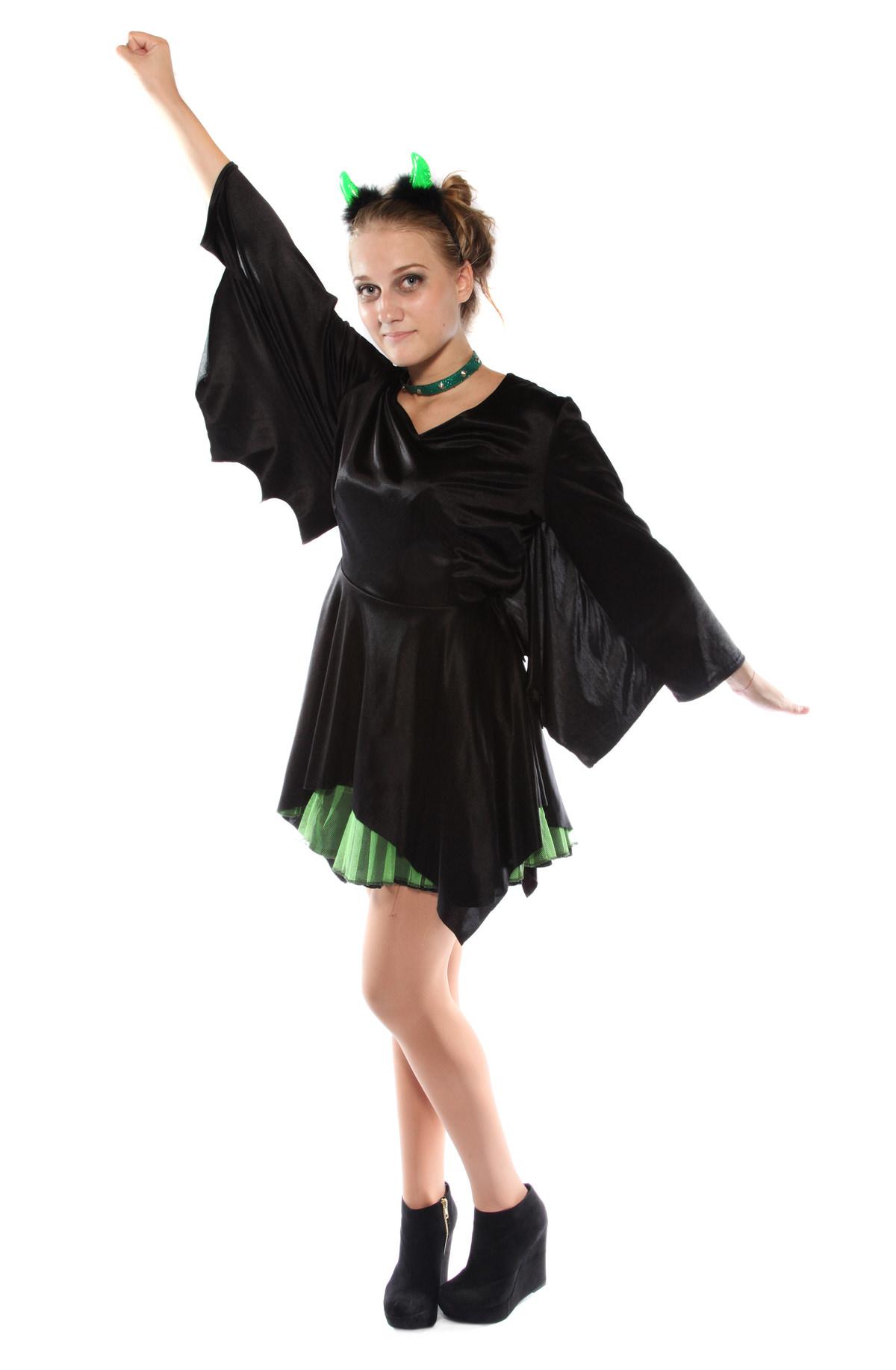 PUNKY GREEN AND BLACK BAT DRESS COSTUME