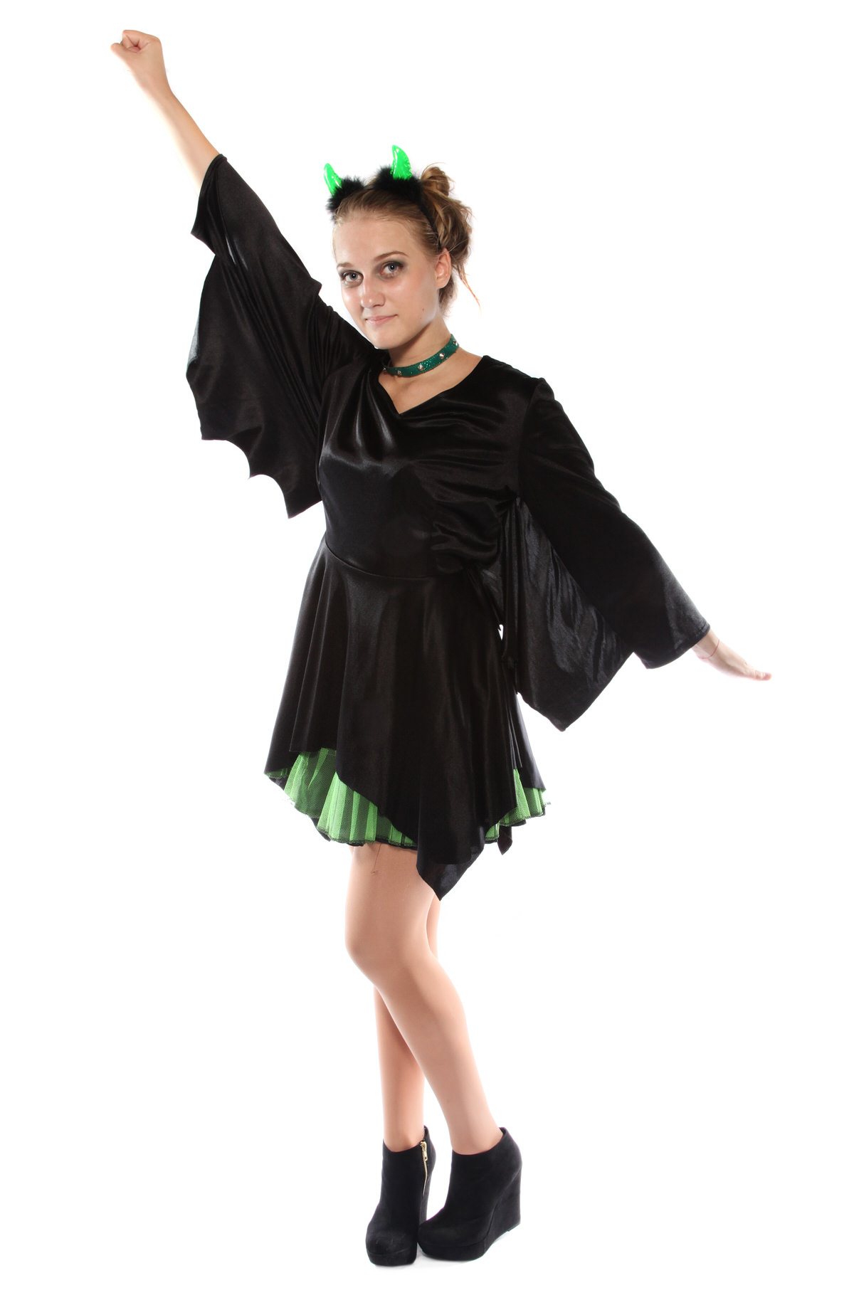 PUNKY GREEN AND BLACK BAT DRESS COSTUME