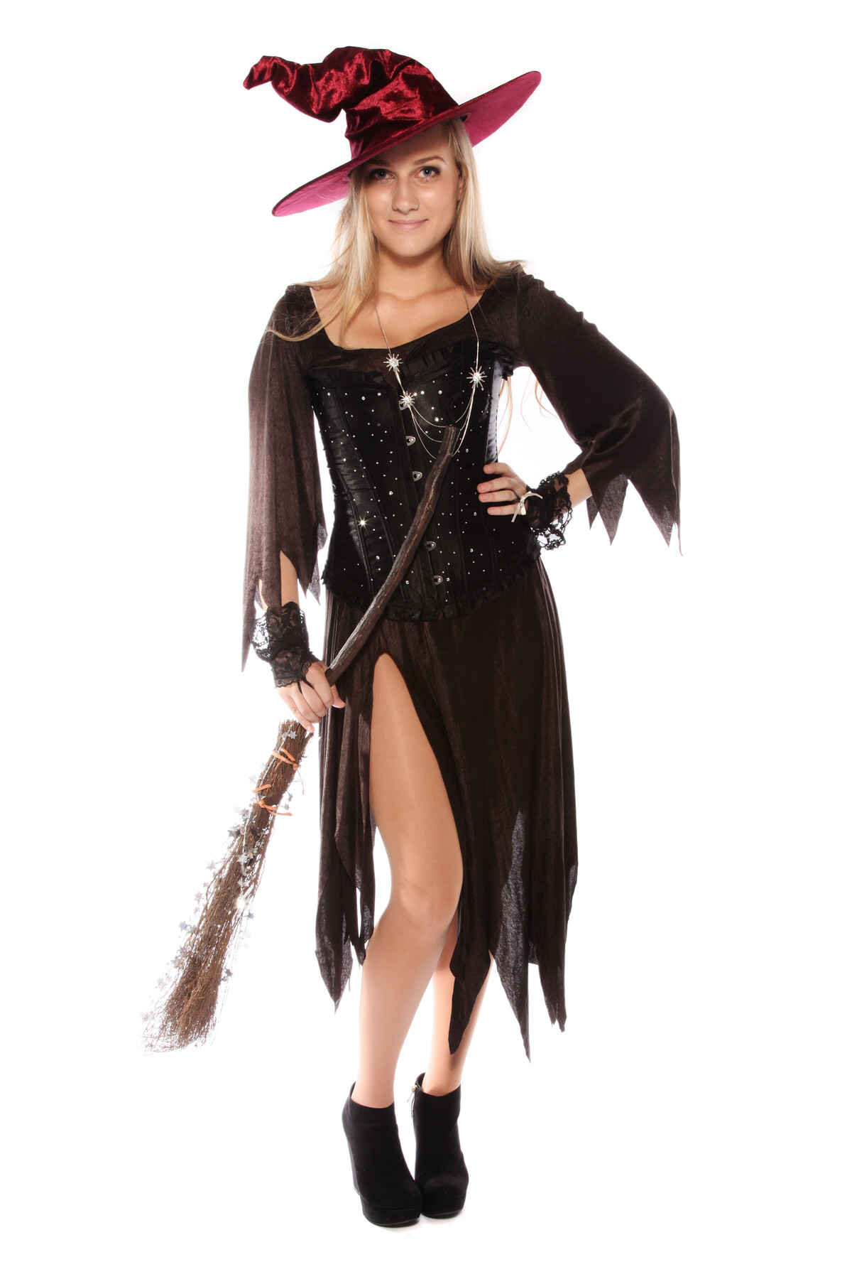 SPARKLY WITCH SLIT DRESS AND WITCHES HAT COSTUME
