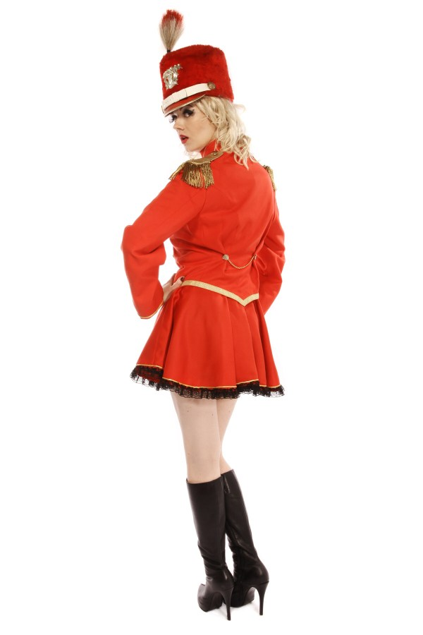 MAJORETTE RED AND GOLD COSTUME back