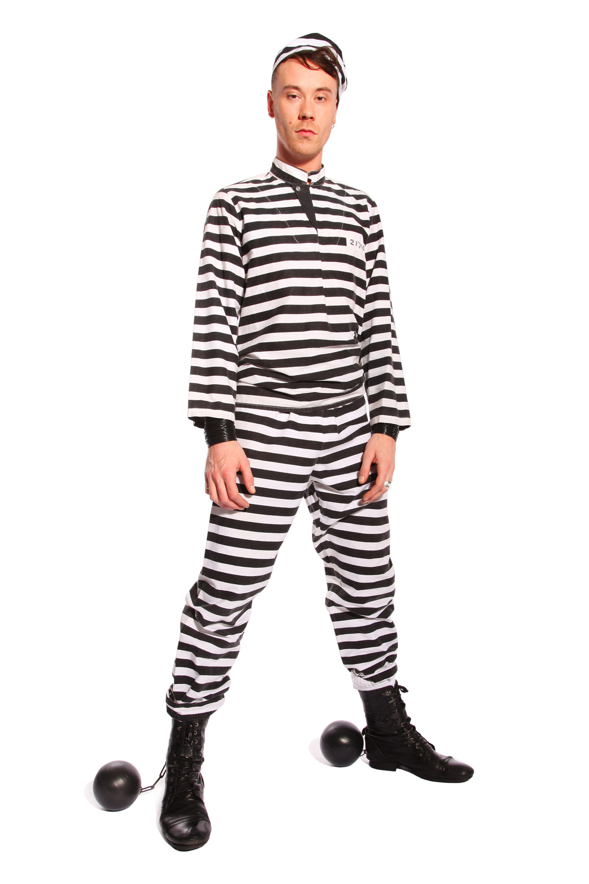 PRISONER STRIPED COSTUME W BALL AND CHAIN