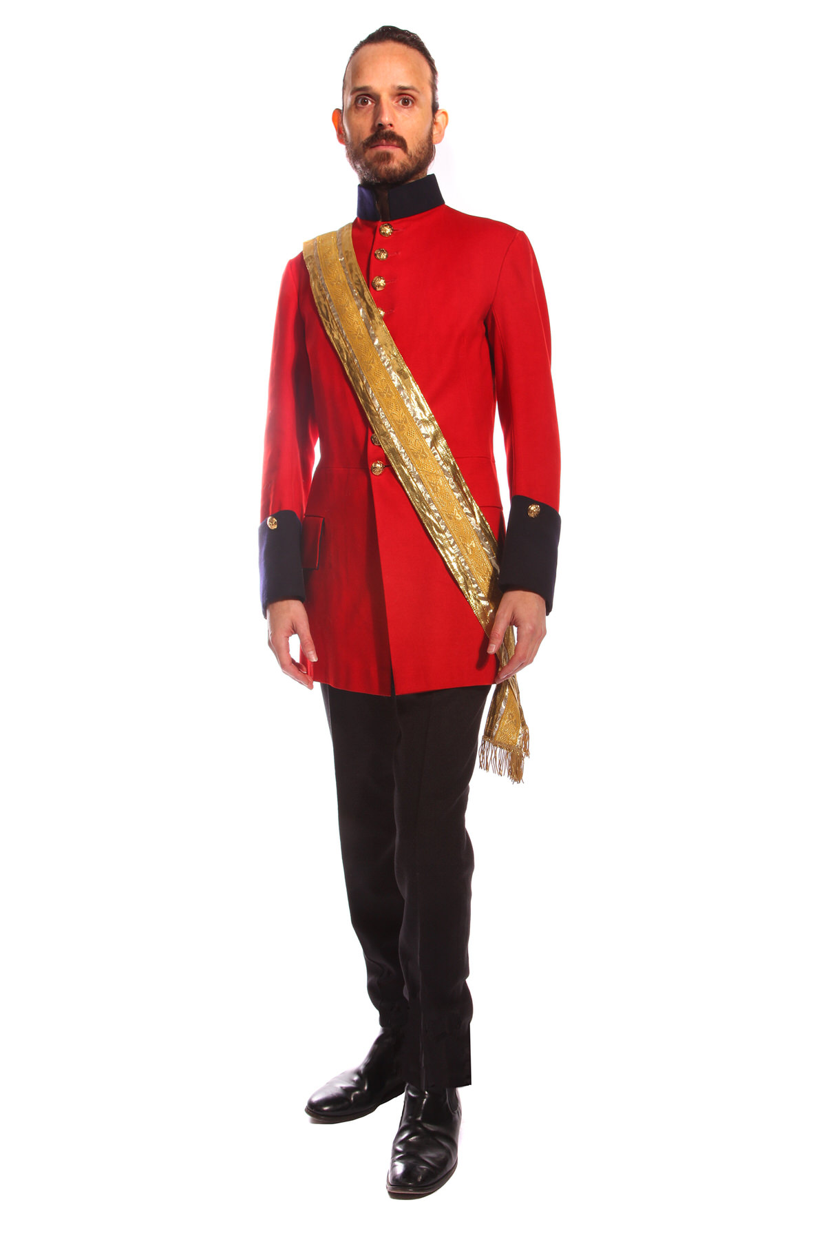 SOLDIER RED COSTUME W GOLD SASH & WOOL TROUSERS