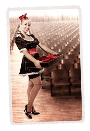 USHERETTE BLACK SATIN COSTUME