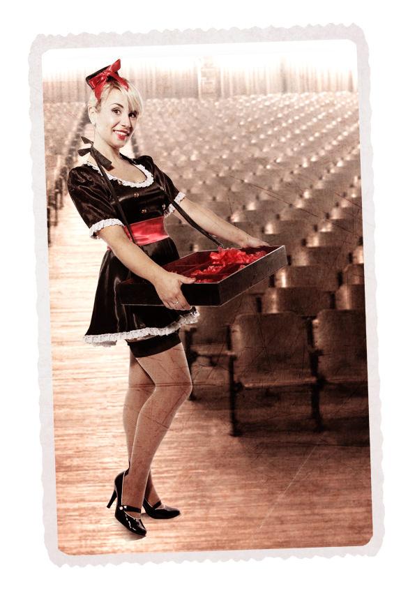 USHERETTE BLACK SATIN COSTUME W SATIN MINI DRESS