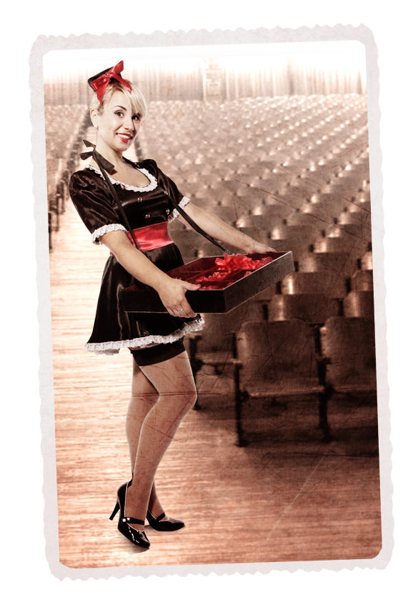 USHERETTE BLACK SATIN COSTUME W SATIN MINI DRESS