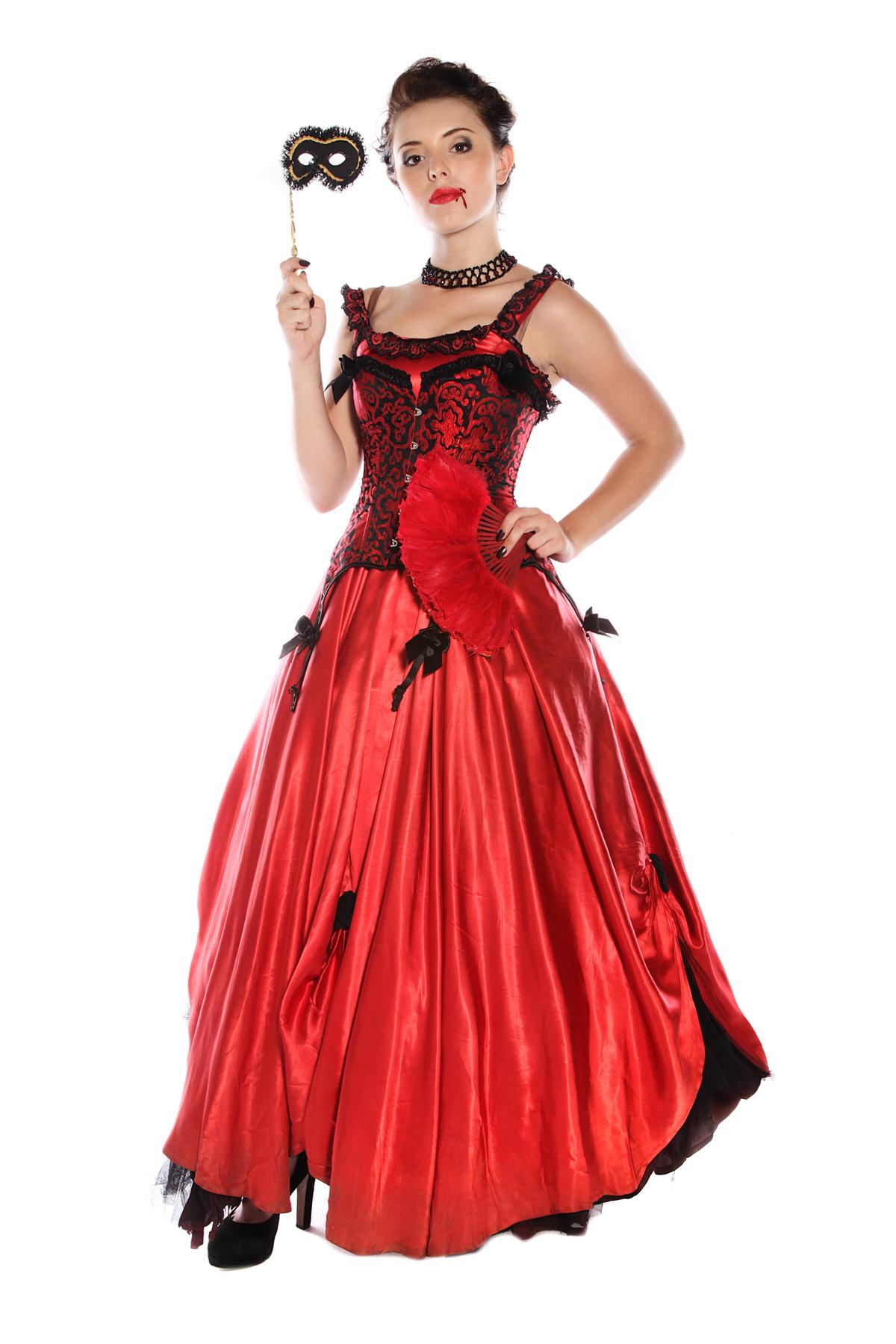 VAMPIRE PRINCESS LONG RED SATIN DRESS COSTUME
