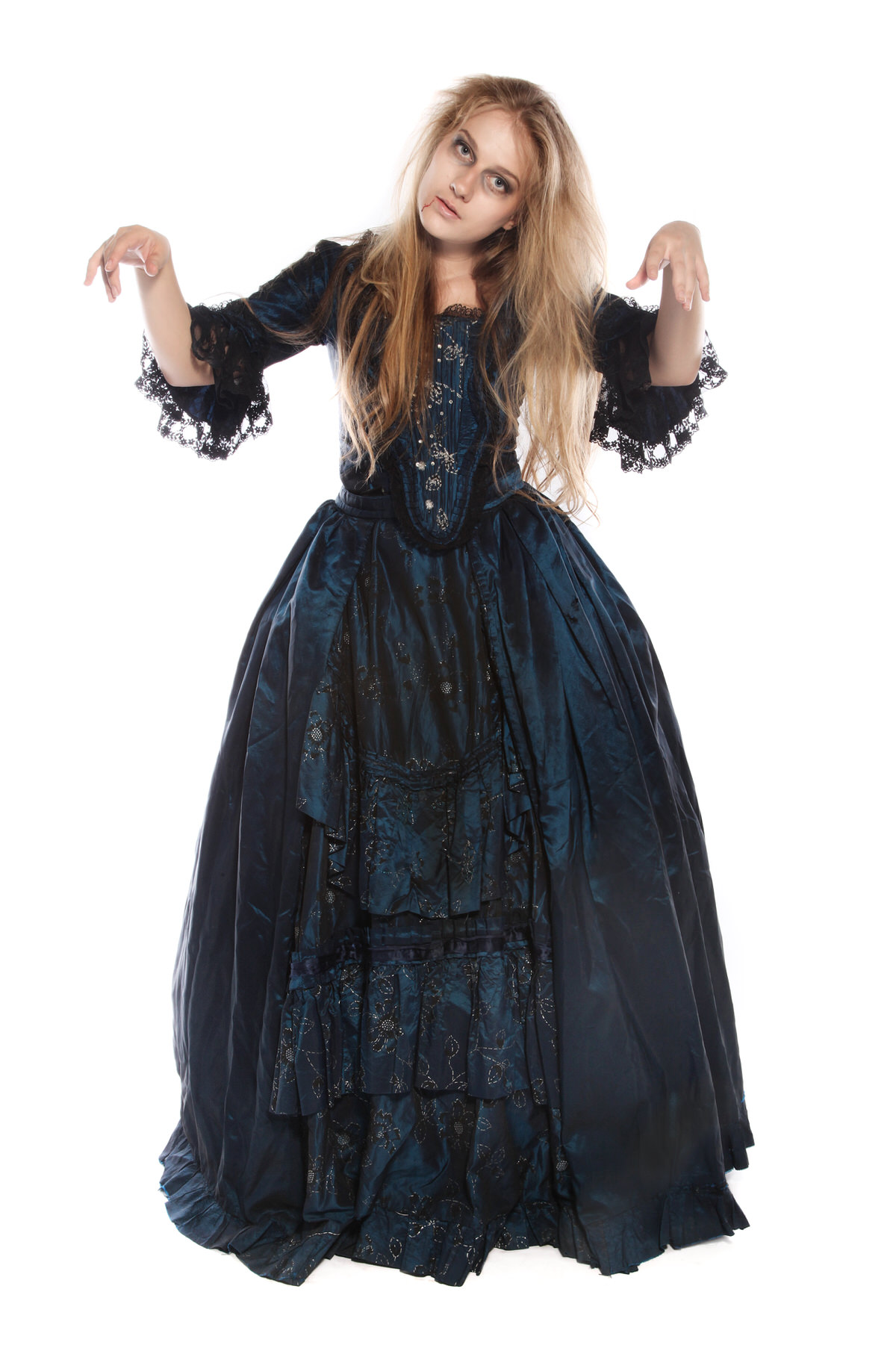 VICTORIAN ZOMBIE MIDNIGHT BLUE TAFFETA DRESS