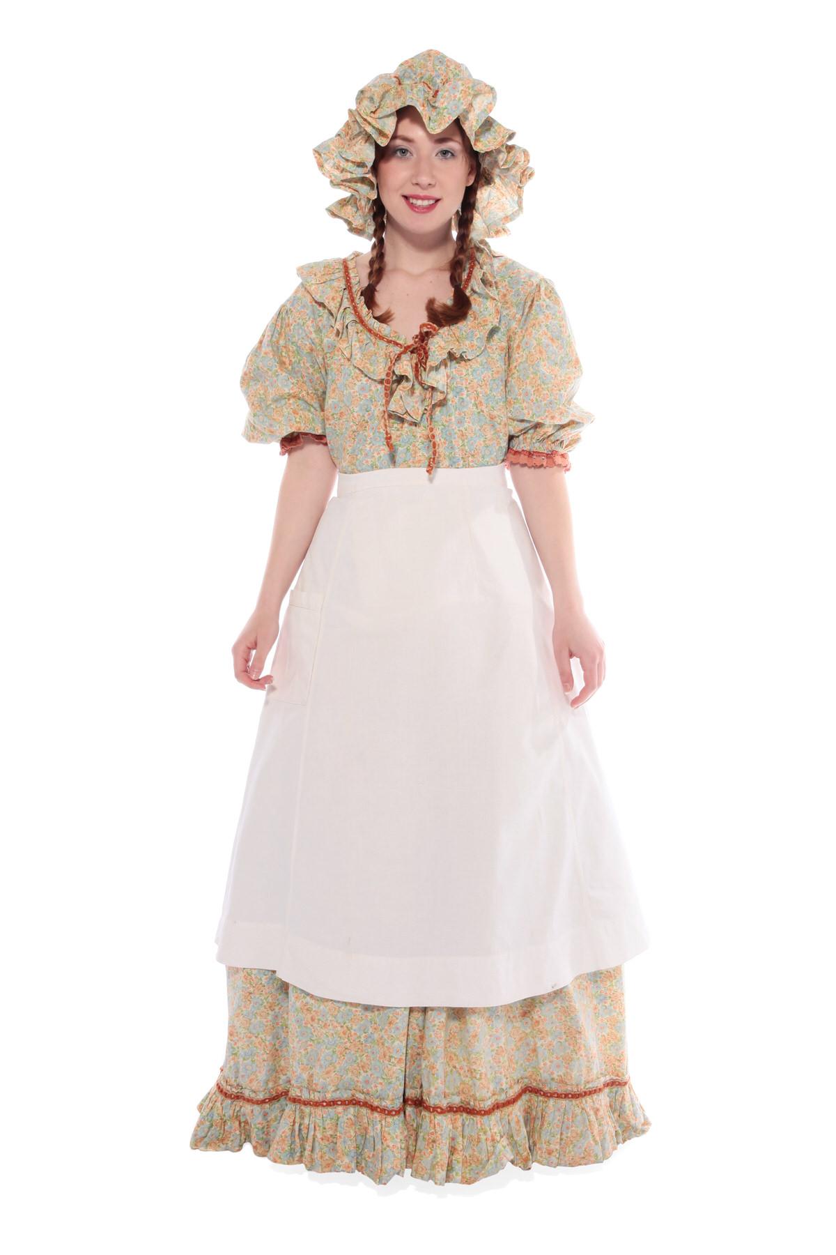 PRAIRIE GIRL COSTUME W PATTERNED LONG DRESS