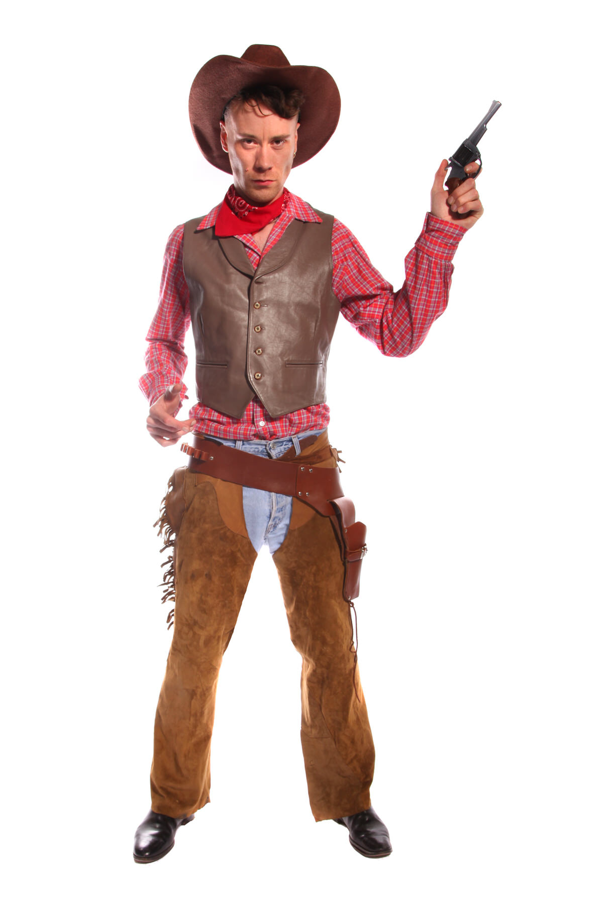 COWBOY RED AND BROWN COSTUME W LEATHER WIASTCOAT