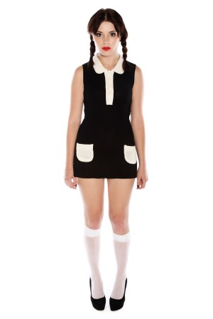WEDNESDAY ADDAMS BLACK AND WHITE DRESS COSTUME