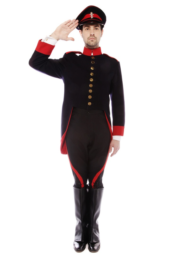 SOLDIER NAVY AND RED COSTUME W OFFICERS PEAKED CAP
