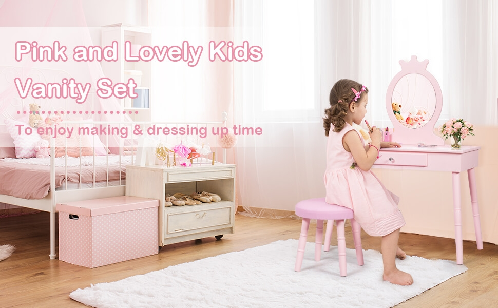 kids wooden princess makeup table with cushioned stool