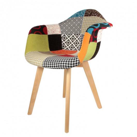 fauteuil patchwork multicolore en tissu de design scandinave