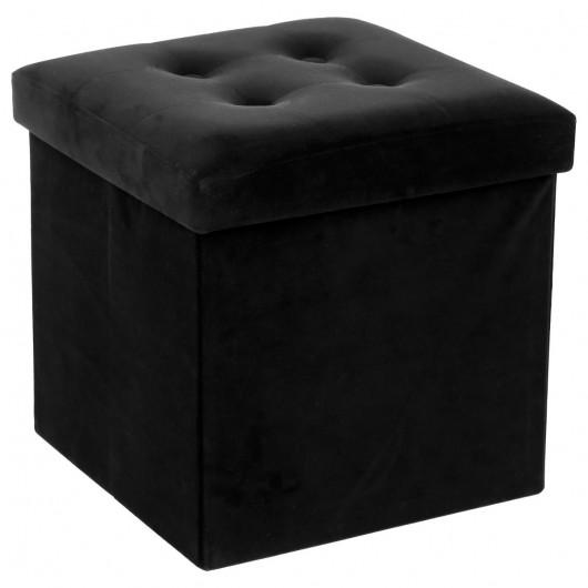 pouf en velours noir coffre de rangement pliable
