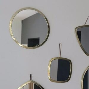 miroir rond 40cm laiton