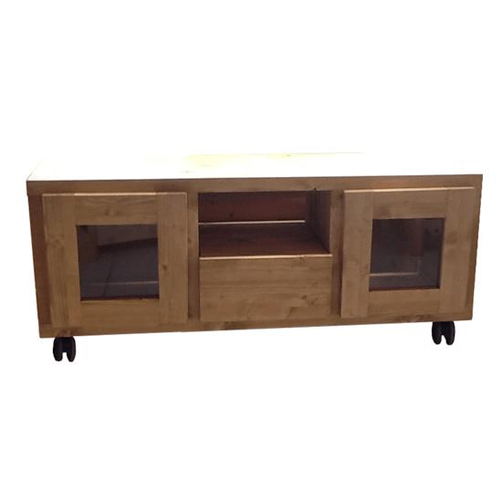 meuble tv cube 2 portes 1 tiroir roulettes vernis mat