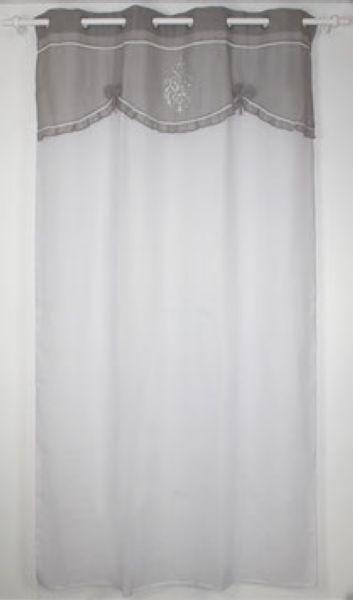 rideau blanc a oeillets cantonniere grise 150 x 260 cm