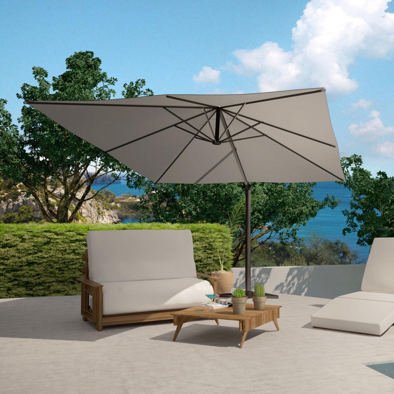 lumpur gris parasol deporte rectangulaire 3x4m rotatif a 360